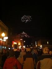 Christmas Tree on S-Mountain, downtown Salida, holiday parade